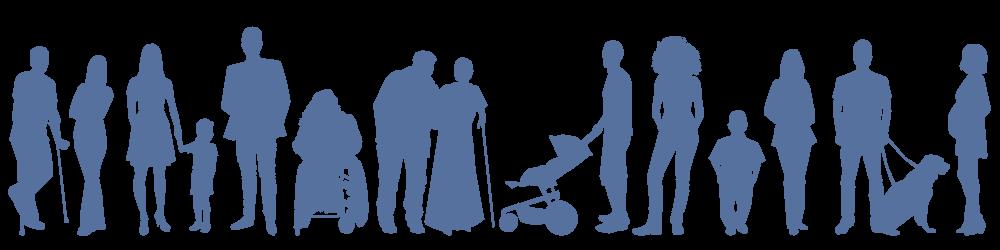 #paracegover A imagem é representada pela silhueta de várias pessoas na cor azul. Ressalte-se que a imagem valoriza a diversidade no âmbito social.